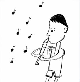 樋口日奈の笛を吹く人の絵