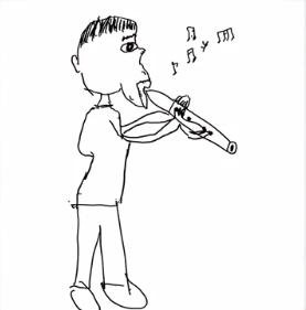 生田絵梨花の笛を吹く人の絵