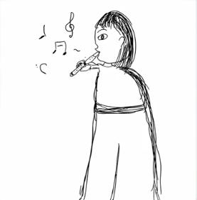 新内眞衣の笛を吹く人の絵