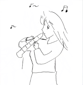 高山一実の笛を吹く人の絵