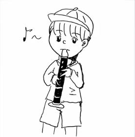 山崎怜奈の笛を吹く人の絵