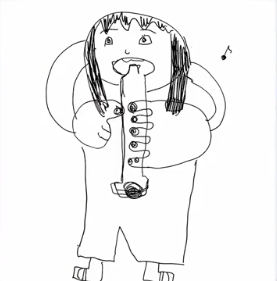 与田祐希の笛を吹く人の絵